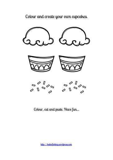 CUPCAKE COLOUR, CUT AND PASTE