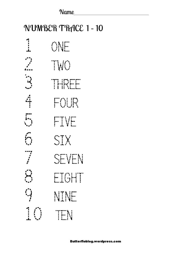 NUMBER TRACE 1 to 10