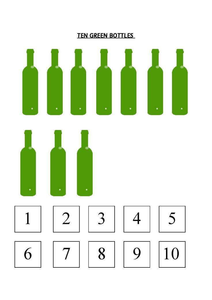 Ten Green Bottles worksheet