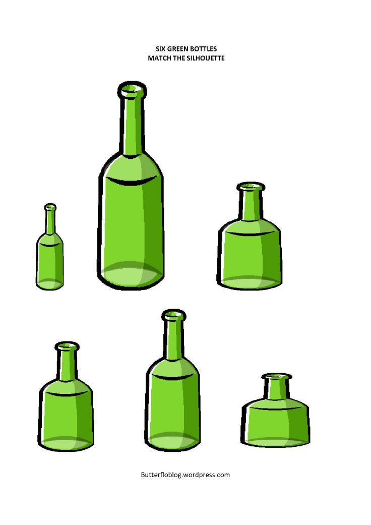 Six green bottles match the silhouette