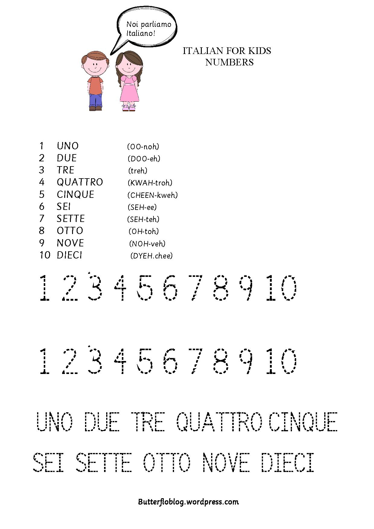 ITALIAN FOR KIDS NUMBERS