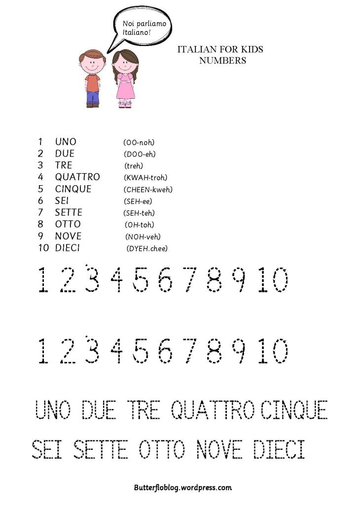 ITALIAN FOR KIDS NUMBERS