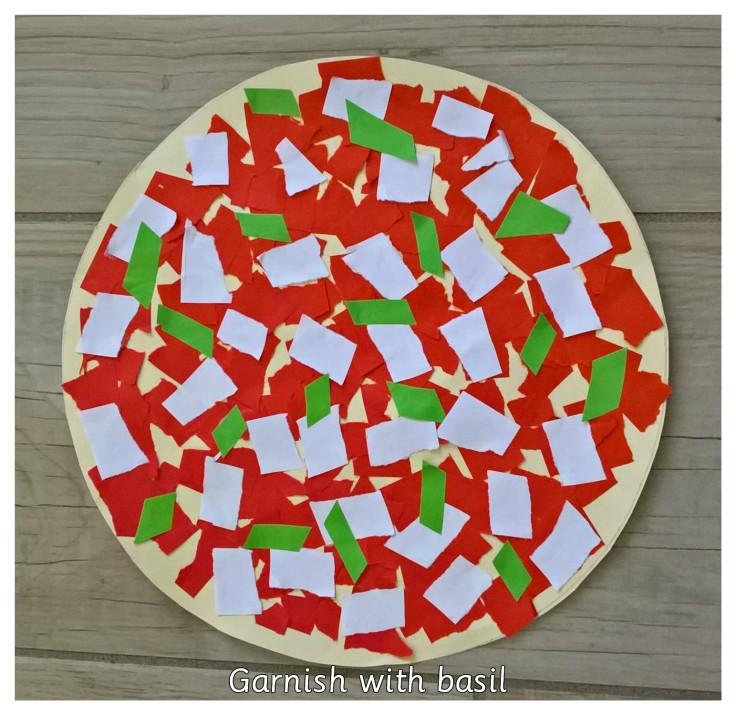 GARNISH PIZZA WITH BASIL