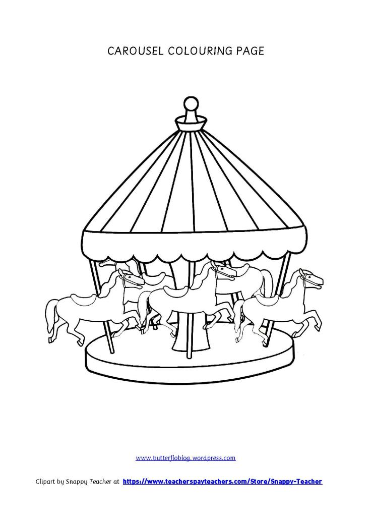 CAROUSEL COLOURING PAGE