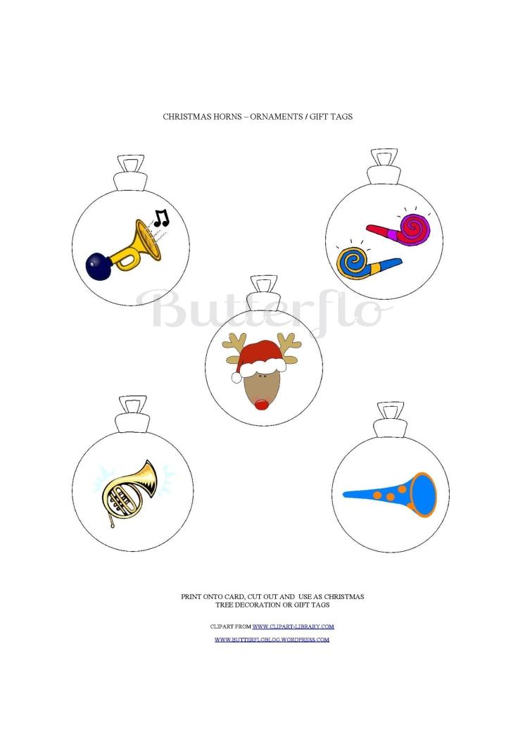 CHRISTMAS HORN ORNAMENTS