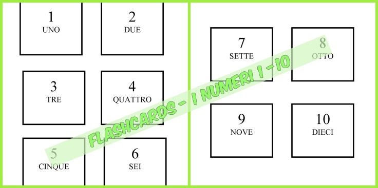 FLASHCARDS I NUMERI 1 - 10