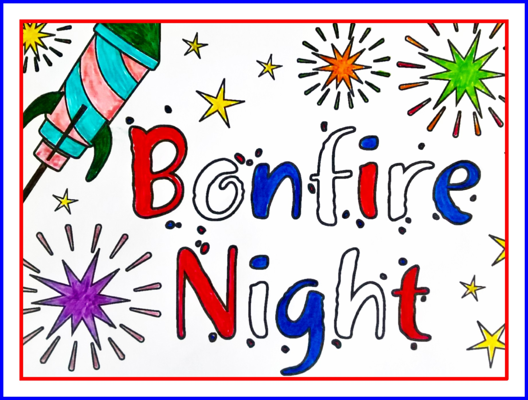 BONFIRE NIGHT FIREWORKS COLOURING PAGE