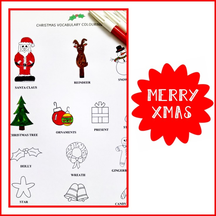 CHRISTMAS VOCABULARY COLOURING PAGE