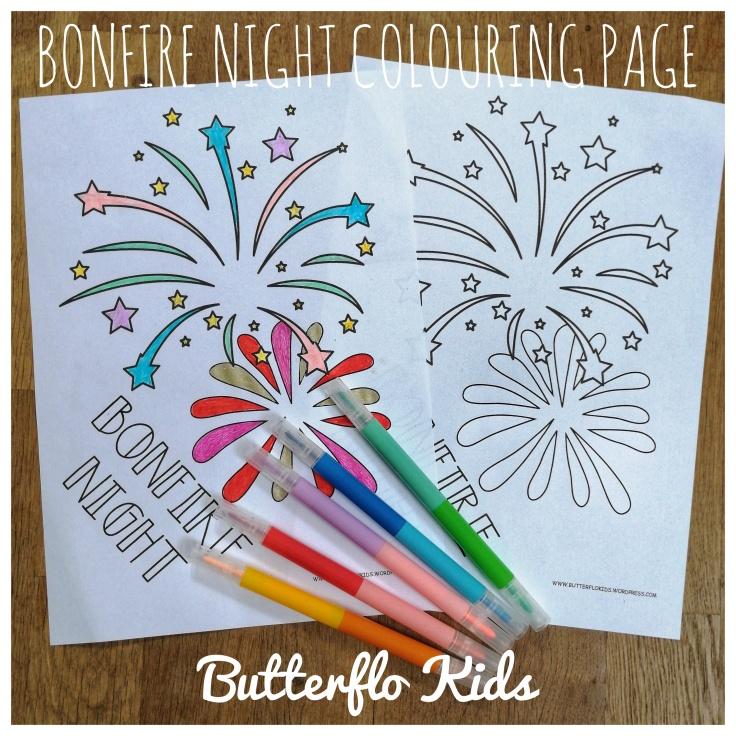 Bonfire night colouring page